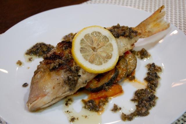 Sauteed Fish Tapenade Sause and Ratatouile (2087)